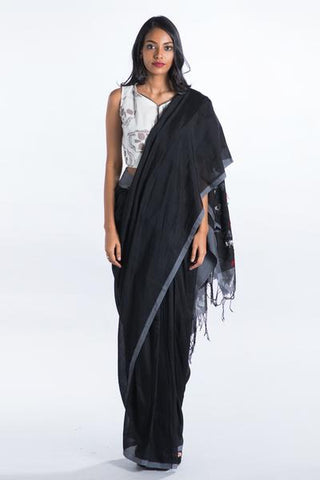 Urban Drape Poppy Black Saree