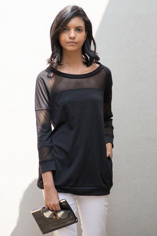Raglan sleeve mesh mix sweatshirt featuring rib cuffs