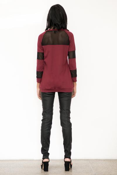 Raglan sleeve mesh mix sweatshirt featuring rib cuffs - Fashion Market.LK