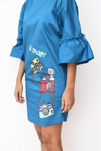 Load image into Gallery viewer, Retro Camera Blue Shift Dress