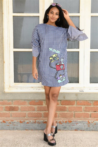 Retro Camera Gingham Shift Dress