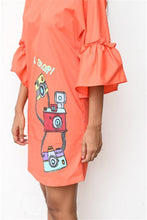 Load image into Gallery viewer, Retro Camera Orange Shift Dress
