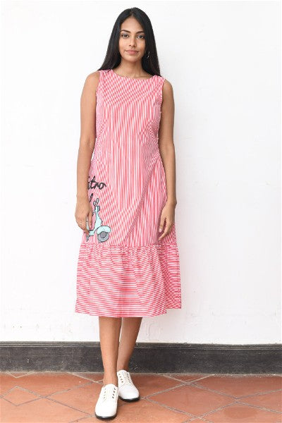 Retro Soul Scooter Printed Back Tie up Midi dress