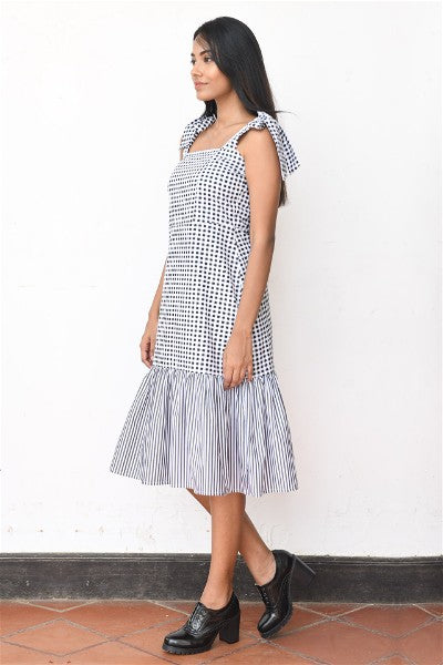 Retro Tie- up Midi  Dress