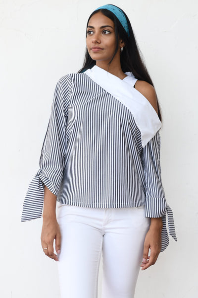 Retro Tie up  Stripe Shirt