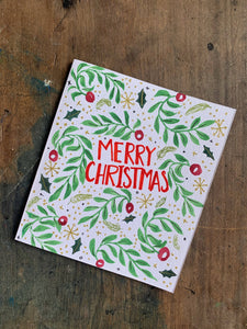 Hand Painted Botanical Christmas Card