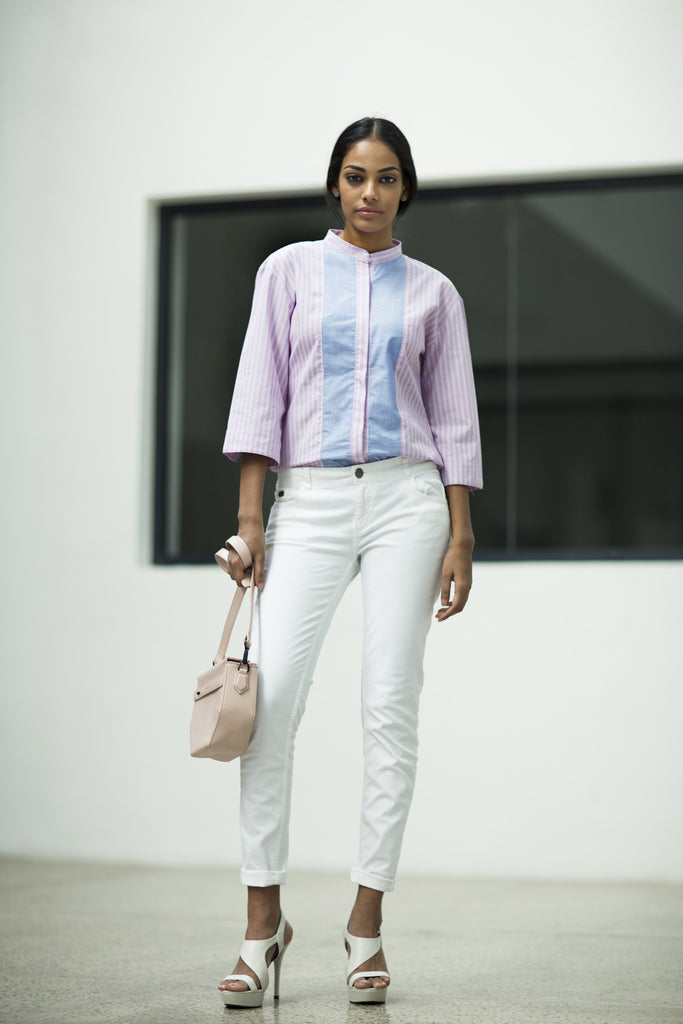 Striped shirt with wide sleeves