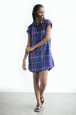 Hand Woven overshot stripes dress