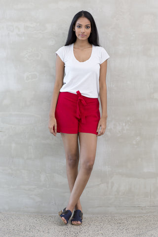 Linen Beach Shorts -Red