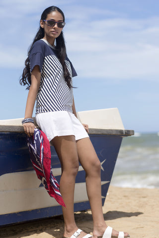 House of Lonali Linen Beach Shorts - Navy