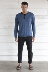 Blue Long Sleeve T Shirt With Piping Neckline