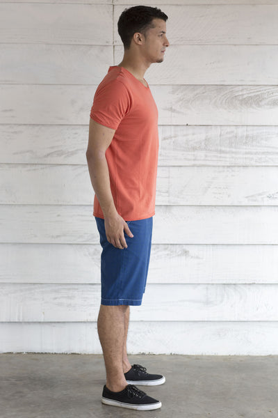 V Neck Orange T Shirt