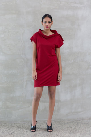 Designer Cowl Neck Draped Dress