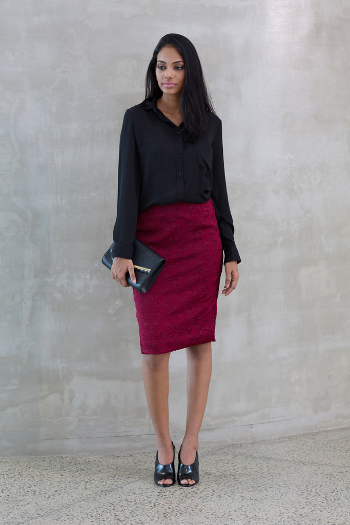 Sateen-jersey pencil skirt