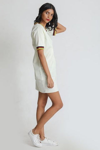 Dress with Balloon Sleeves & Ties- white
