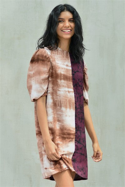 Shift Dress With Puff Sleeves