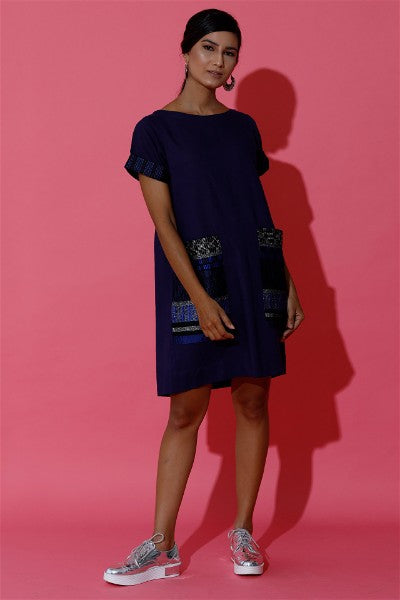 Shift Dress with Hand Woven Oversized Pocket