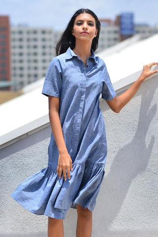 Handwoven shirt dress with sleeve ties