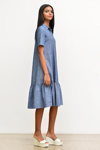Shirt Dress with ruffle-chambray - Fashion Market.LK
