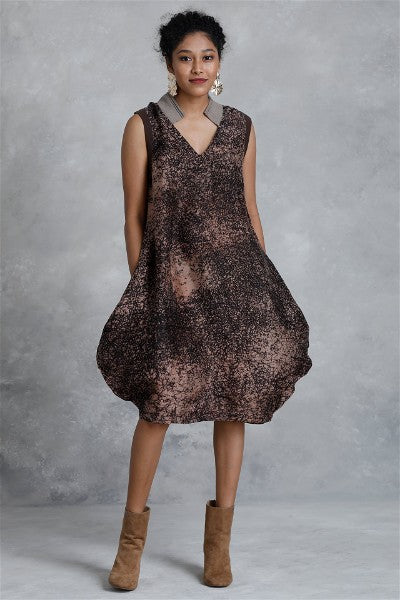 Sparkle Silk Batik Balloon Dress