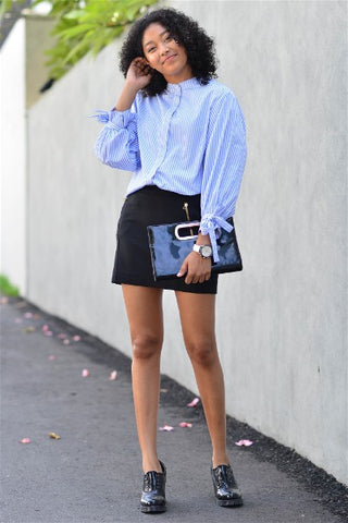 Stripe Puff Sleeve Shirt