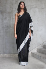 Load image into Gallery viewer, Urban Drape Black Glow Saree
