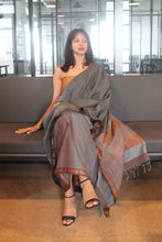 Load image into Gallery viewer, Urban Drape Pigeon Grey Saree