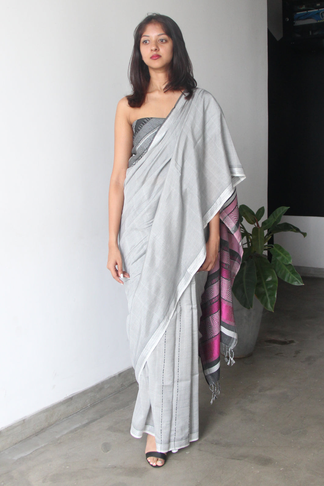 Urban Drape Magenta Gray Rhythm Saree