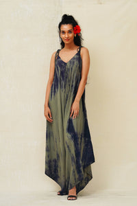 TAPROBANA KHAKI GREEN TIE DYE MULTI-WAY JUMPSUIT