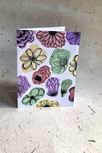 Load image into Gallery viewer, Hand Painted Color Blocked Floral Card
