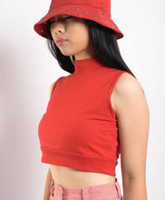 Load image into Gallery viewer, Sleeveless Red Cotton Turtleneck Crop top