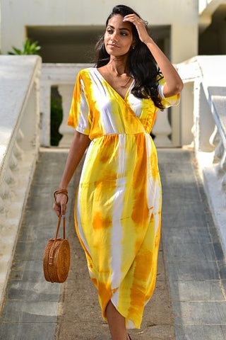 Tie Dye Wrap Front Maxi Dress