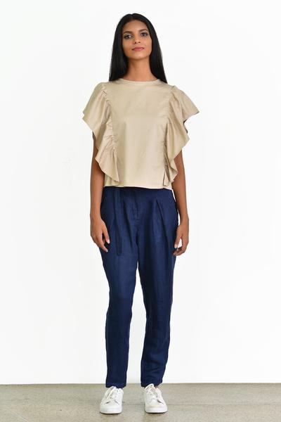 Top with ruffled sides - Fashion Market.LK