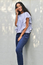 Load image into Gallery viewer, Top with ruffled sleeves -Stripe - Fashion Market.LK