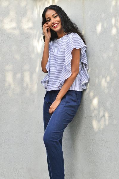 Top with ruffled sleeves -Stripe - Fashion Market.LK