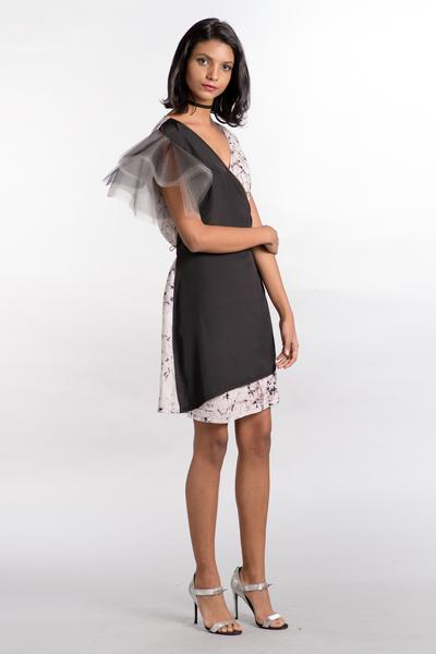 Tulle Sleeve Black Wrap Dress - Fashion Market.LK