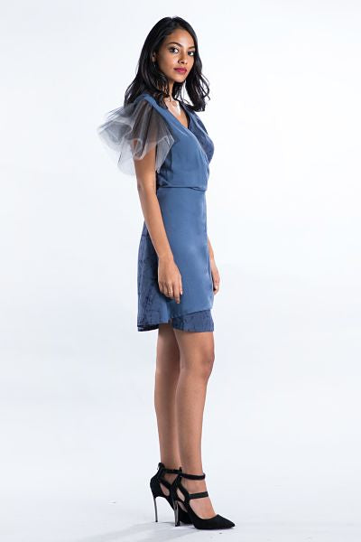 Tulle Sleeve Gray Wrap Dress - Fashion Market.LK