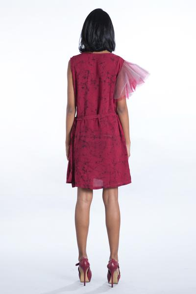 Tulle Sleeve Maroon Wrap Dress - Fashion Market.LK