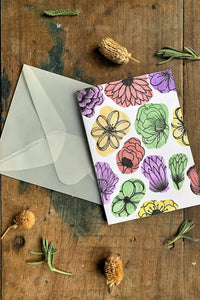 Hand Painted Color Blocked Floral Card