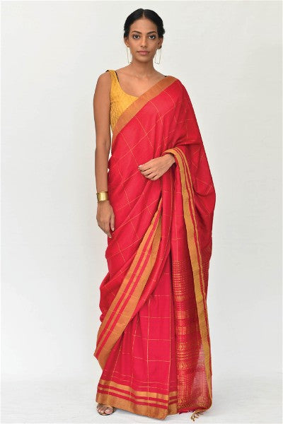 Urban Drape Crimson Grid Saree