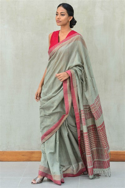 Urban Drape Moss Grid Saree