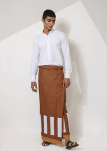 Brown Sarong with White Square Pattern