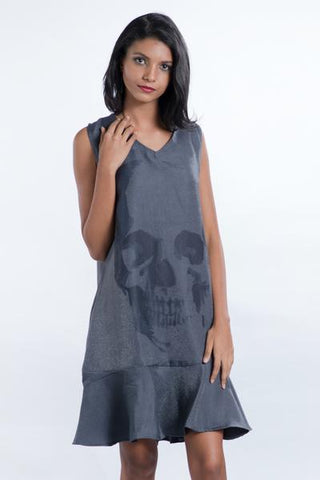 V Neck Punk Gray Frill Dress