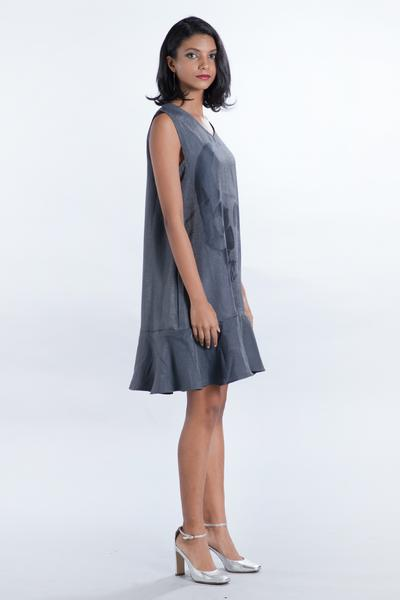V Neck Punk Gray Frill Dress - Fashion Market.LK