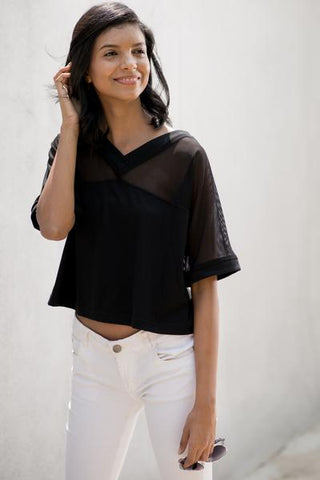 V neck mesh mix crop top