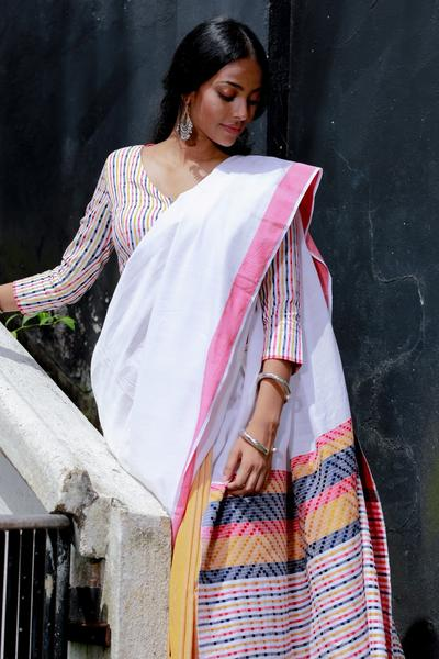 Urban Drape White Sand Tribe Saree - Fashion Market.LK
