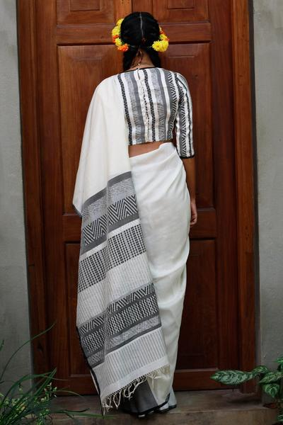 Urban Drape White Swan Saree
