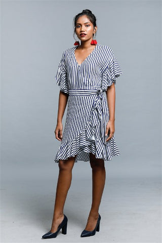 Ziggy Stripped Frill Wrap Dress