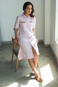 MENDES CEYLON - March Linen Shirt Dress Pink