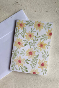 Hand Painted Yellow Daisy Card